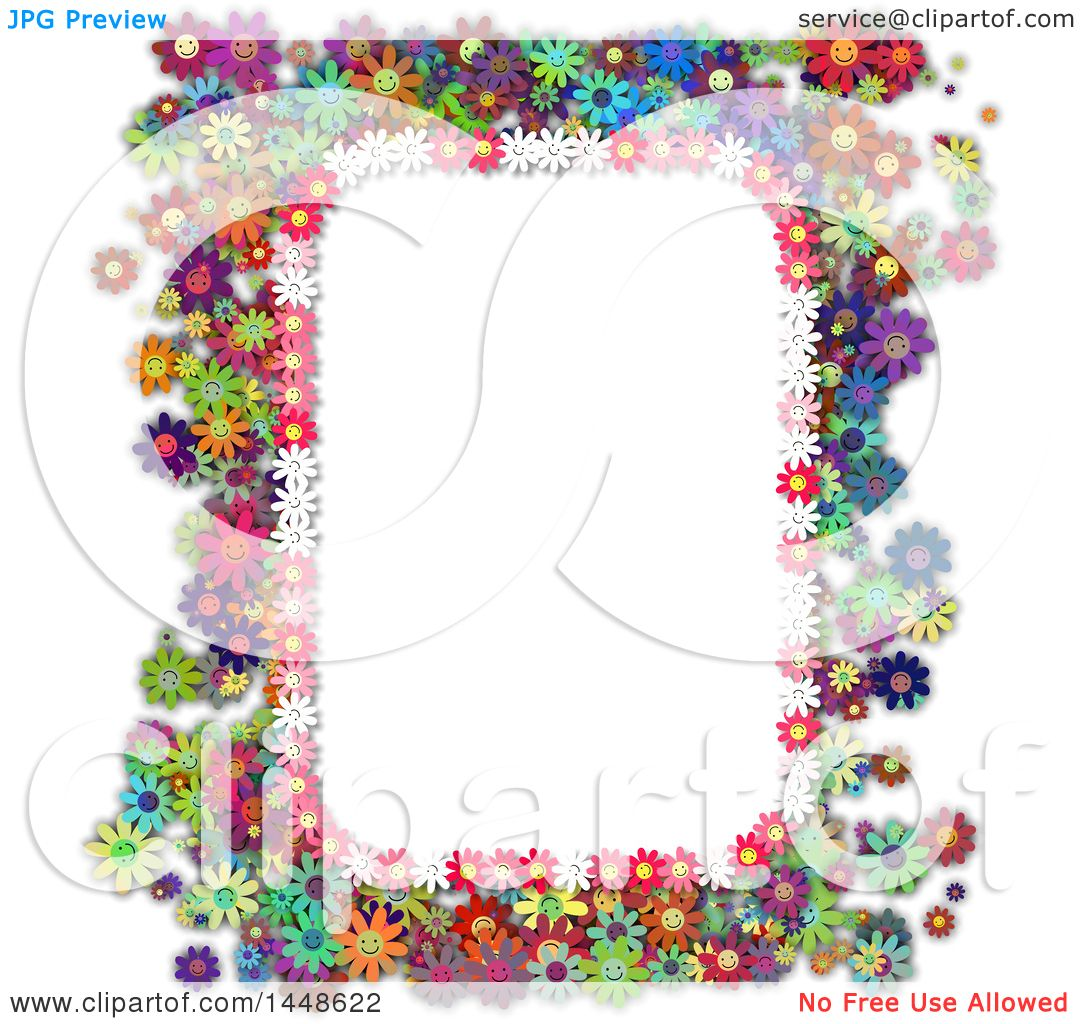 Clipart of a Border Frame of Colorful Daisy Flowers.