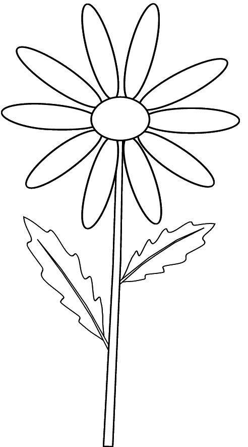 Yellow daisy on stem_ outline clip art sketch to colour, l….