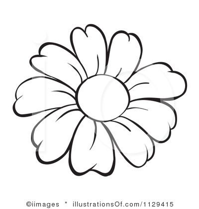 Black And White Daisy Clipart.