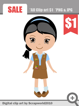Brownie Girl Scout clip art graphics.