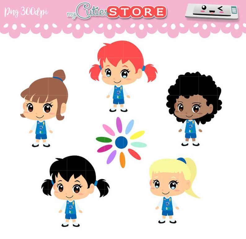 Daisy troops and girl scout clipart, kawaii girl set for planner stickers,  digital planning, crafts. commercial use ok.