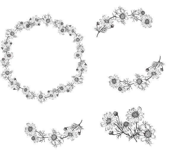 Flower Wreath Clipart Black And White.
