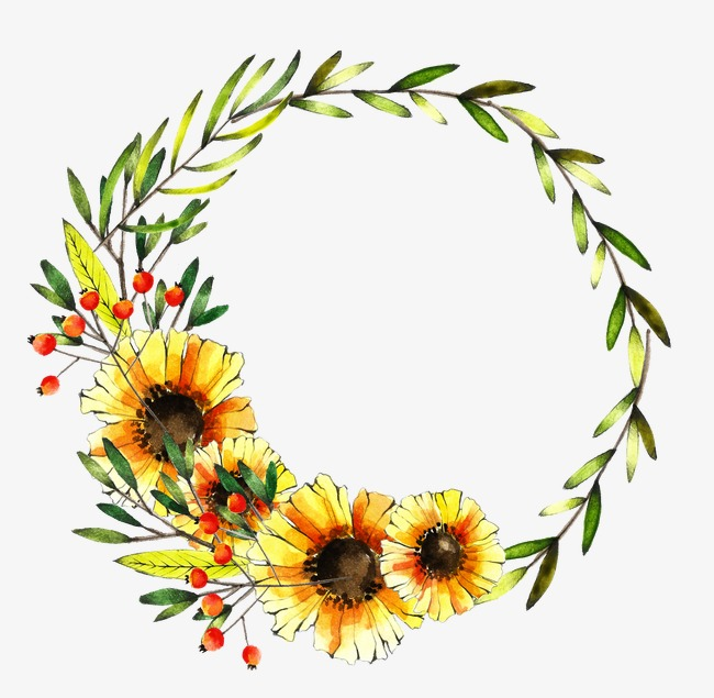 Wreath, Watercolor, Daisy, Bright Yellow #156382.