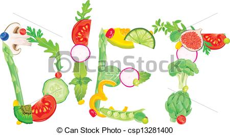 Vector Clipart of Word diet from food. Contains transparent.