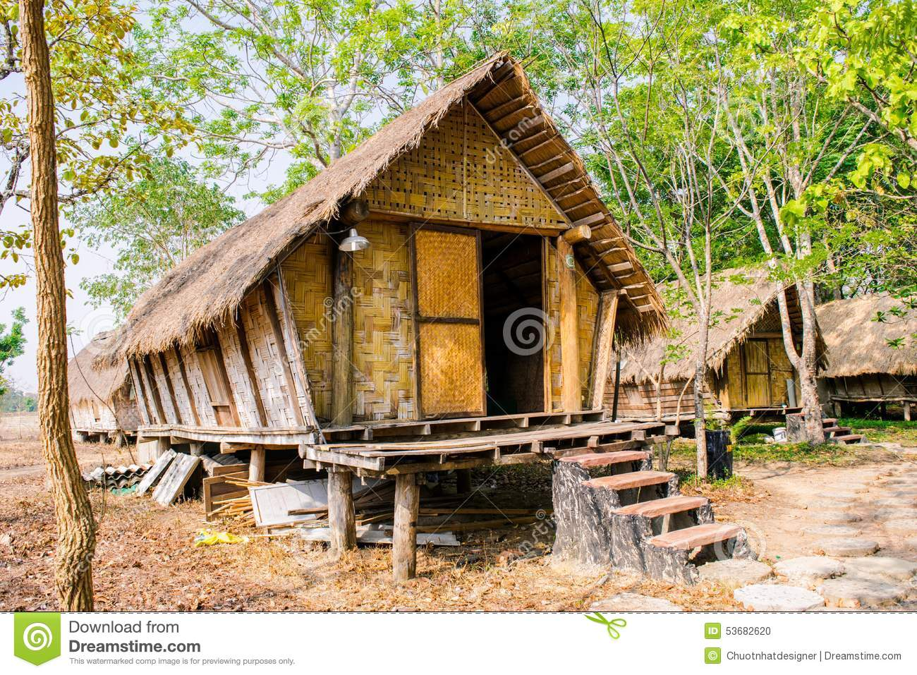 House Of People At Daklak Province, Vietnam. Houses Usually Make.