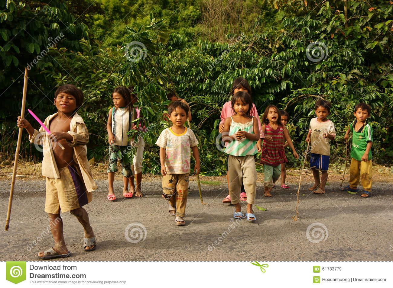 Poor Asian Children, Dirty, Sunburst, Illiterate Editorial Stock.