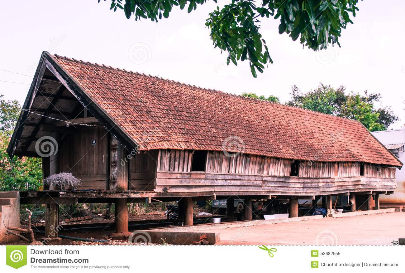Paleolithic Thatched Huts In Buon Don, Daklak, Vietnam Stock Photo.