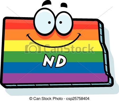 Vector Clipart of Cartoon North Dakota Gay Marriage.
