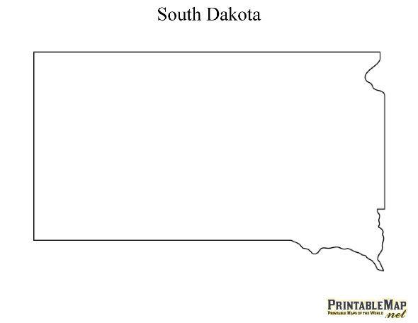 Printable Map of South Dakota.