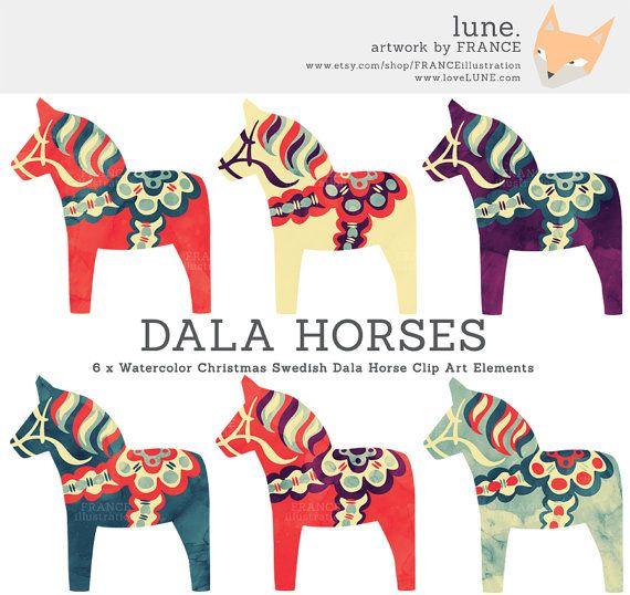 GET 3 FOR 2. Watercolor Christmas Dala Horse Clip Art. Nordic Folk.