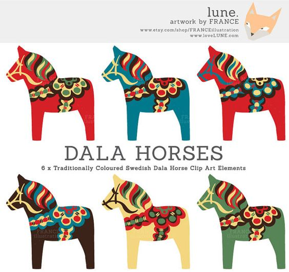 GET 3 FOR 2. Dala Horse Clip Art. Traditional Nordic Folk Art.