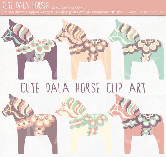 GET 3 FOR 2. Cute Dala Horse Clip Art. Pastel Color Nordic Folk.
