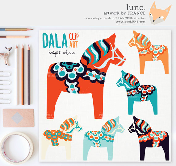 GET 3 FOR 2. Cute Dala Horse Clip Art. Pastel Color Nordic Folk.
