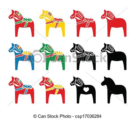 Dala horse Vector Clip Art Illustrations. 44 Dala horse clipart.