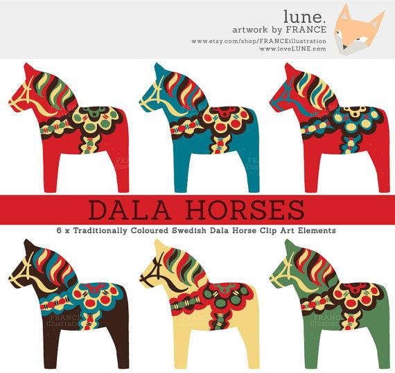 GET 3 FOR 2. Dala Horse Clip Art. by FRANCEillustration on Etsy.
