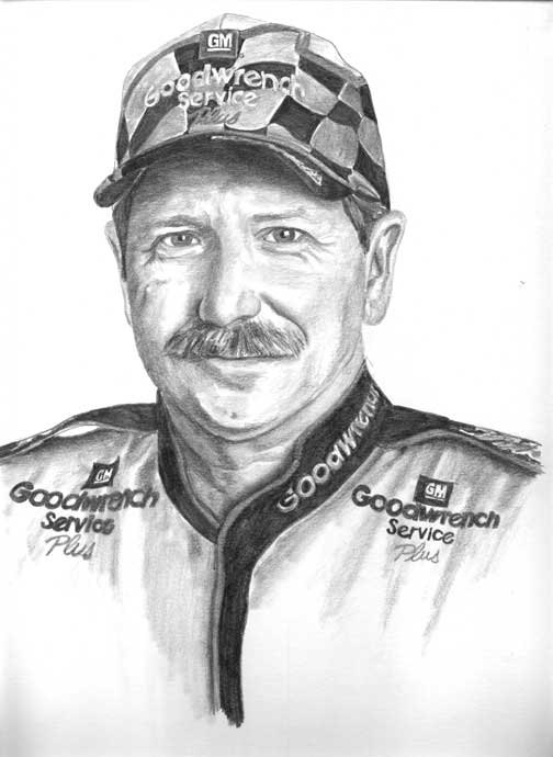 Dale Earnhardt Pencil Portrait Drawing Illustrated by artist.