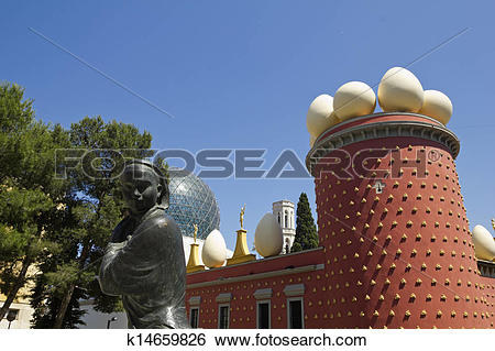 Stock Images of Tramuntana statue and Dali Museum. Figueres.