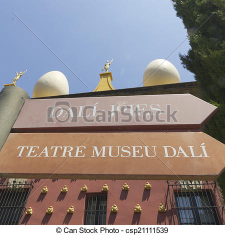 Stock Photos of Signs Dali museum in Figueres.