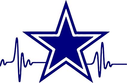 HEARTBEAT Star Cowboys Dallas Decal 3.5 inches tall.
