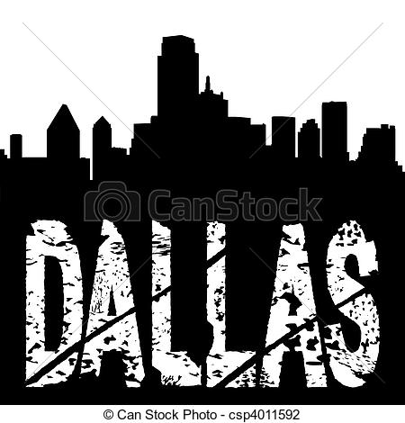 Clip Art of Dallas text with skyline.