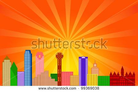 Dallas Texas City Skyline Panorama Color Silhouette With Sun Rays.