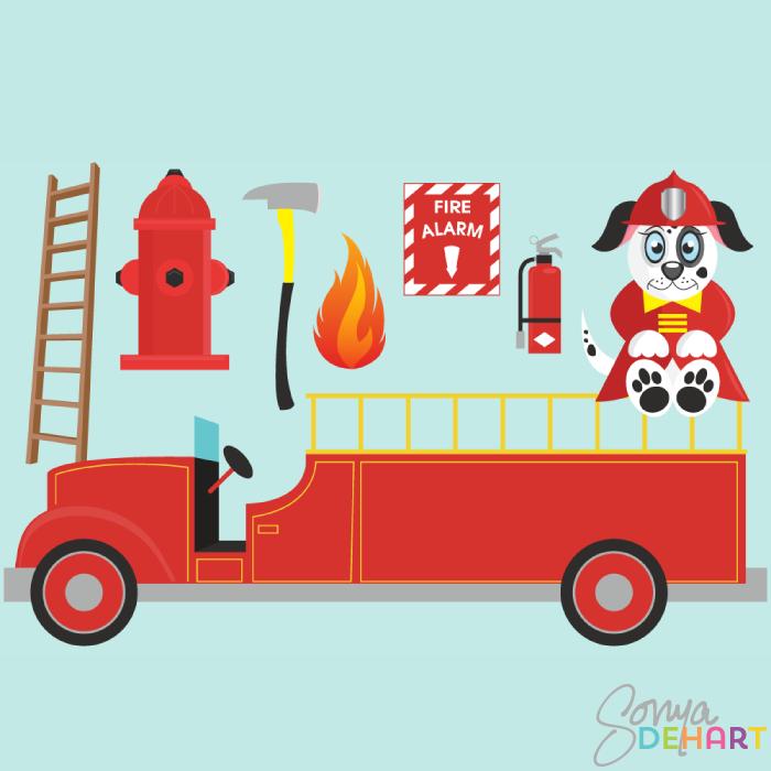 Clip Art Fire Truck Element and Dalmatian Dog.