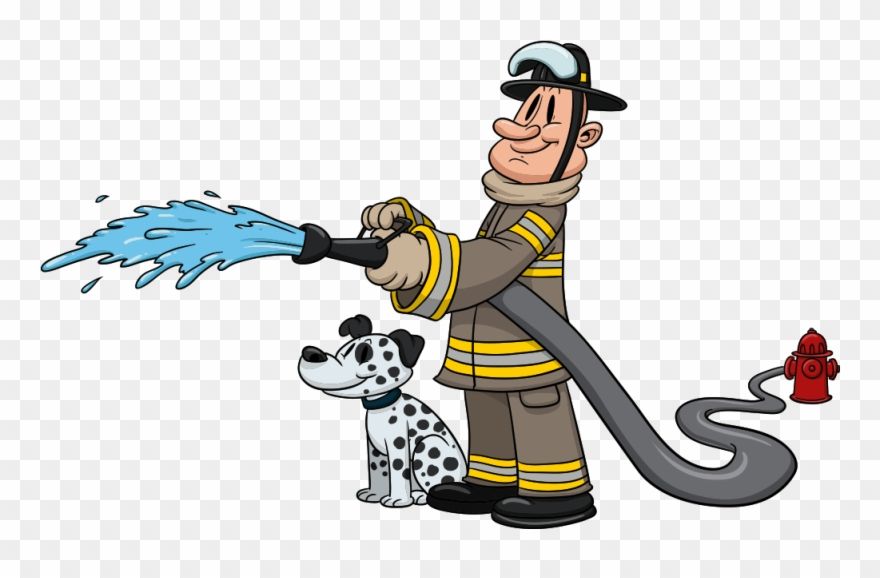 Dog Cartoon Dalmatians And Firefighters.