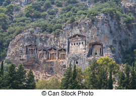 Stock Photos of Kaunian rock tombs in Dalyan, Ortaca, Turkey.