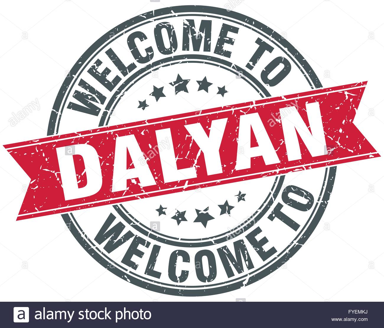 Welcome To Dalyan Red Round Vintage Stamp Stock Vector Art.
