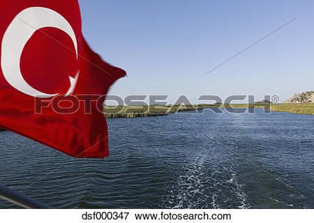 Picture of Turkey, Dalyan Delta, View of turkish flag dsf000347.