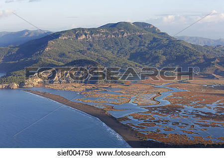 Stock Photograph of Turkey, Dalyan, Iztuzu beach with Dalyan Delta.