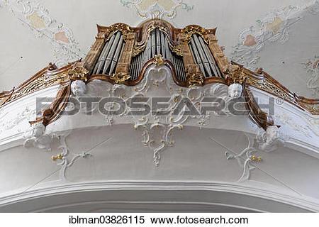 "Stock Image of ""Organ in the Parish Church of St. Gallus, Bregenz."