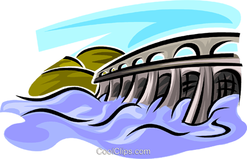 Hydro Dams Royalty Free Vector Clip Art illustration.