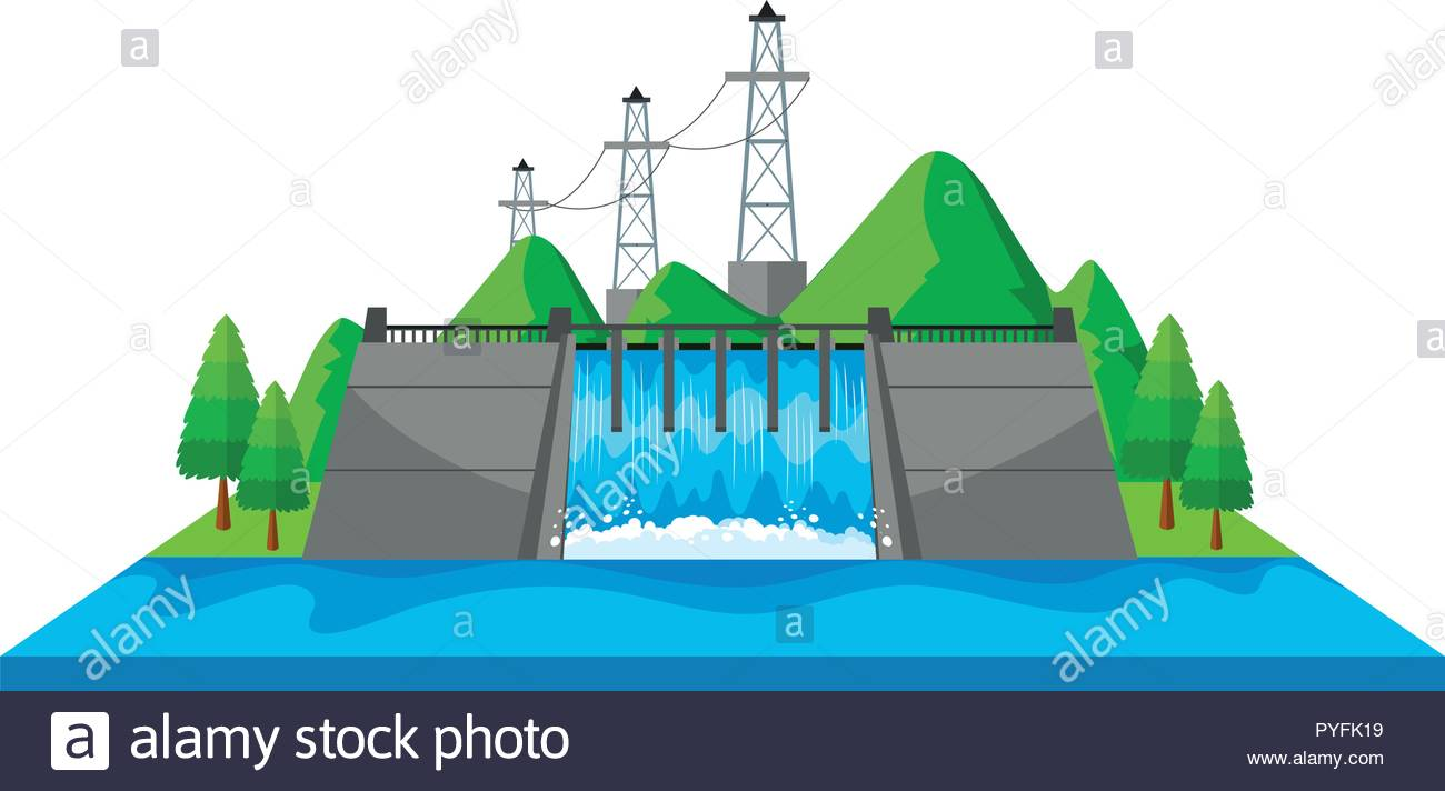 Scene with dam and electric towers in 3D design illustration Stock.