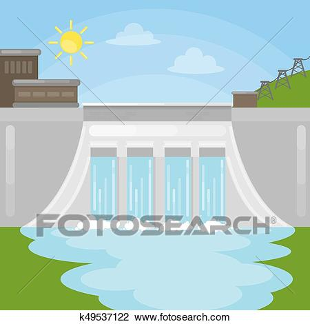 Hydropower dam illustration. Clipart.