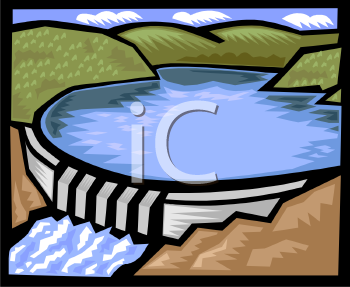 Royalty Free Clip Art Image: Lake Above a Dam.