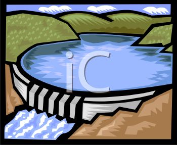 Royalty Free Clipart Image: Lake Formed Above a Dam.