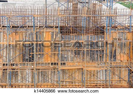 Stock Images of Metal scaffolding by work on dam construction site.