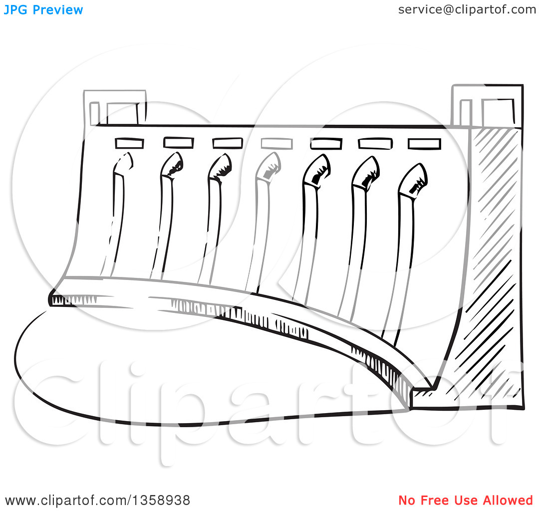 Clipart of a Black and White Sketched Dam.