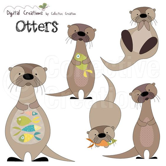 This digital clip art set comes with 5 x individual Otters, each.