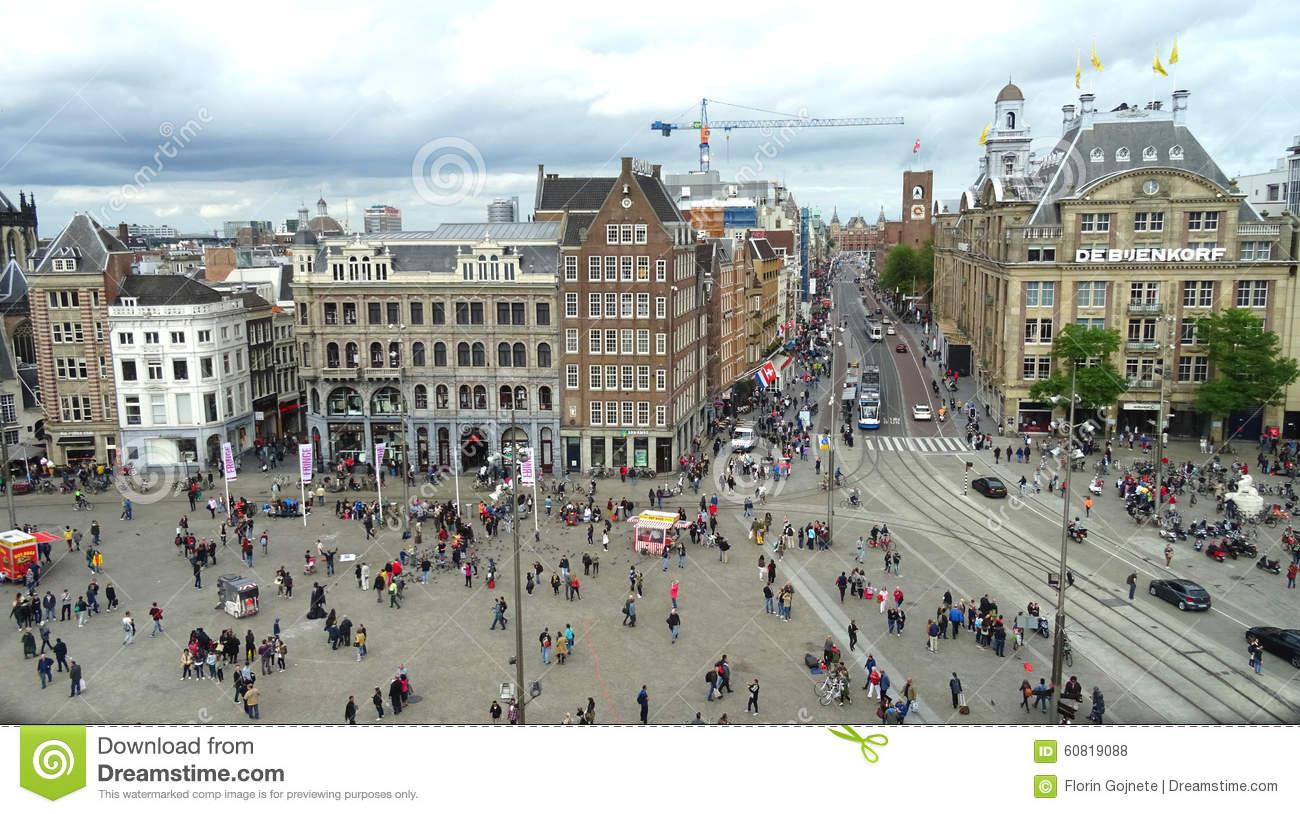 Dam Square View, Amsterdam Editorial Stock Photo.
