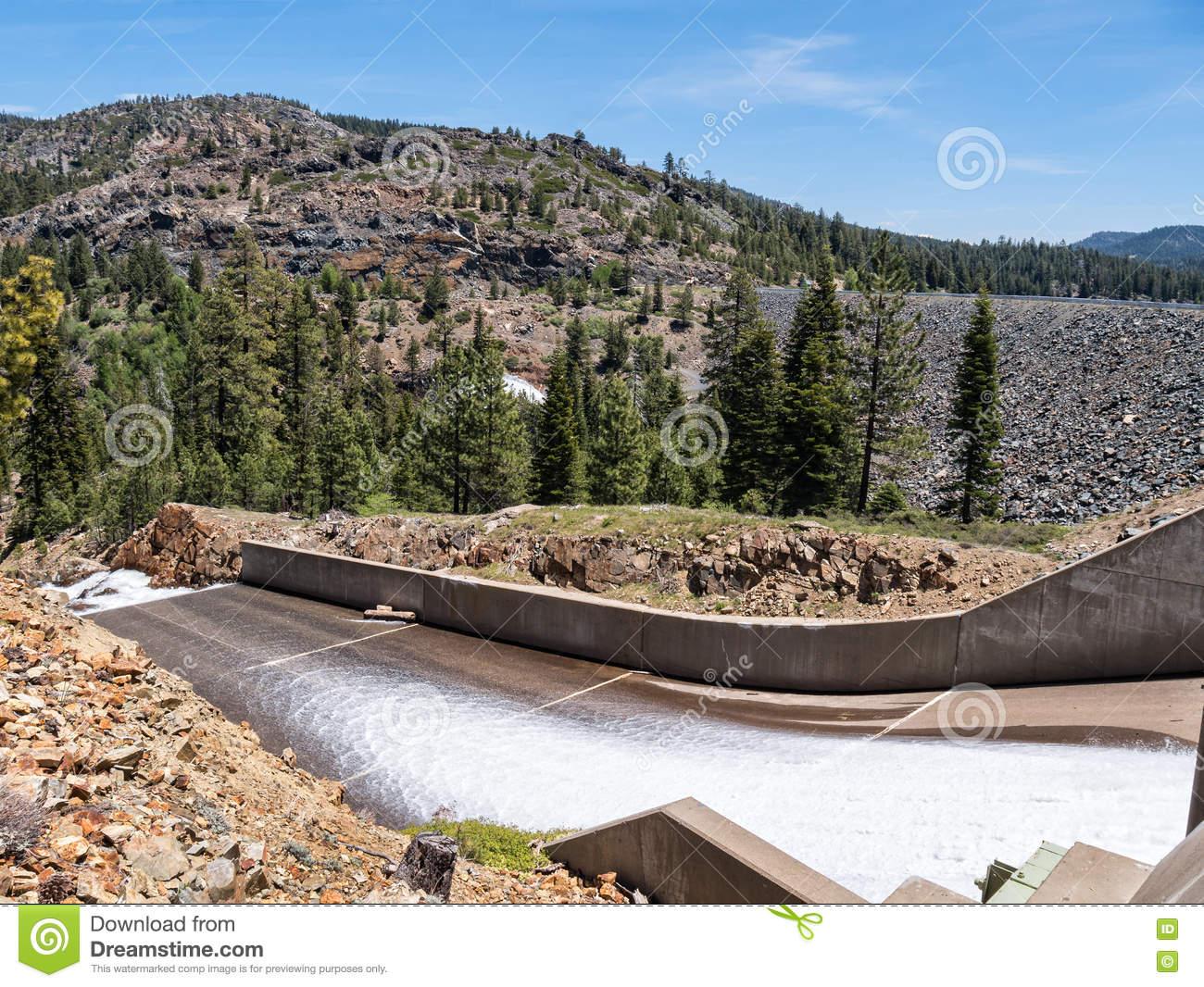 Jackson Meadow Reservoir Dam Stock Photo.