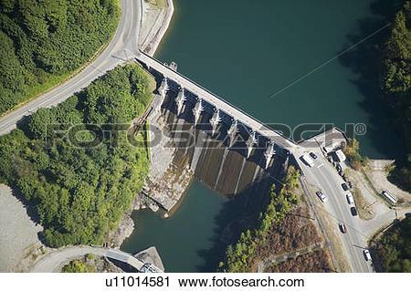 Stock Photography of Stave Lake Dam, Canada, British Columbia.
