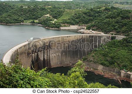 Stock Images of Lake Kariba dam wall.