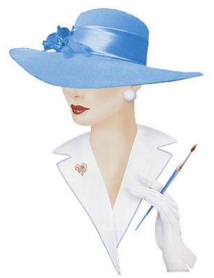 Alfabeto animado Dama Elegante con sombrero celeste..
