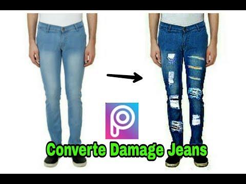 Bnaye Apne simple Jeans ko Damage Jeans use Picsart Photo.