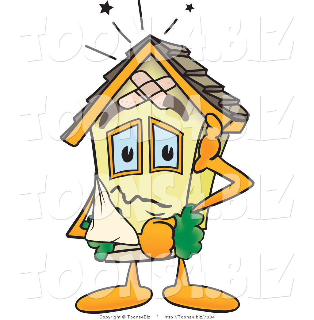 Vector Illustration of a Damaged Cartoon Home Mascot by Toons4Biz.