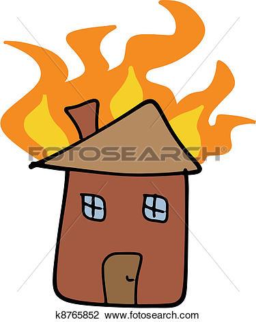 Clip Art of House fire k8175367.