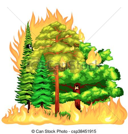 Vector Clip Art of Forest Fire, fire in forest landscape damage.