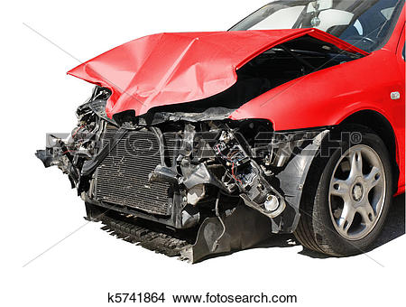 Stock Photo of damaged car after an accident isolated on white.